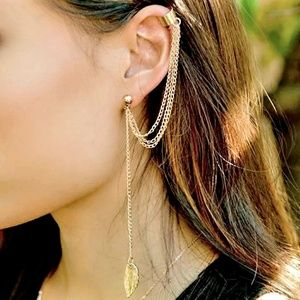 punk trendy ear cuff stud chain earrings